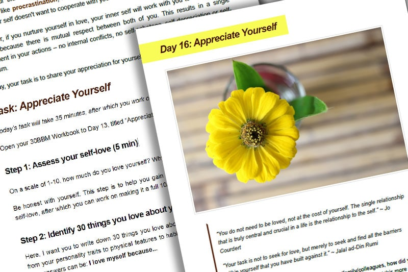 30BBM Guidebook: Appreciate Yourself