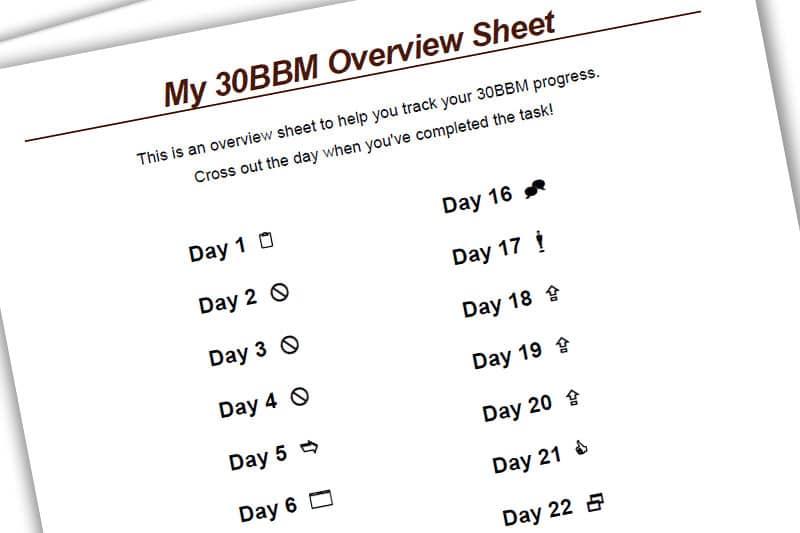 30BBM Workbook: My 30 BBM Overview Sheet