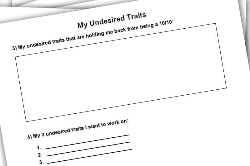30BBM Workbook: My Undesired Traits