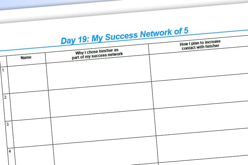 30DLBL Workbook: My Success Network of 5