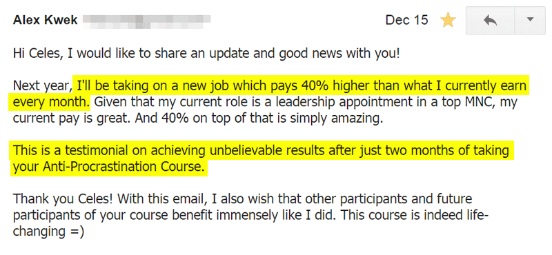 Email from Anti-Procrastination Course Participant Alex, who found a new job with 40% raise