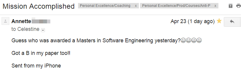 Email from Anti-Procrastination Course Participant Annette, getting a Masters in Software Engineering
