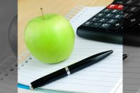 Apple, Notebook, and Calculator