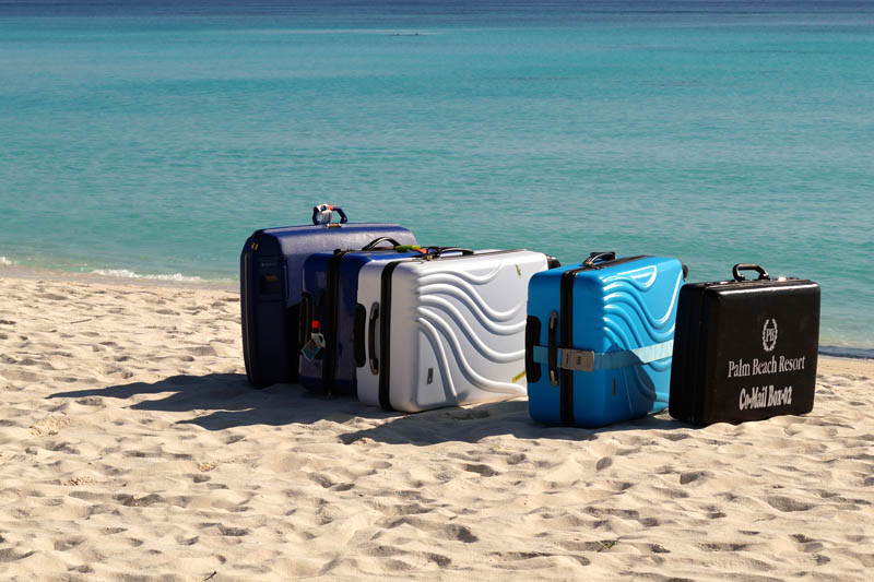 Luggage on a beach