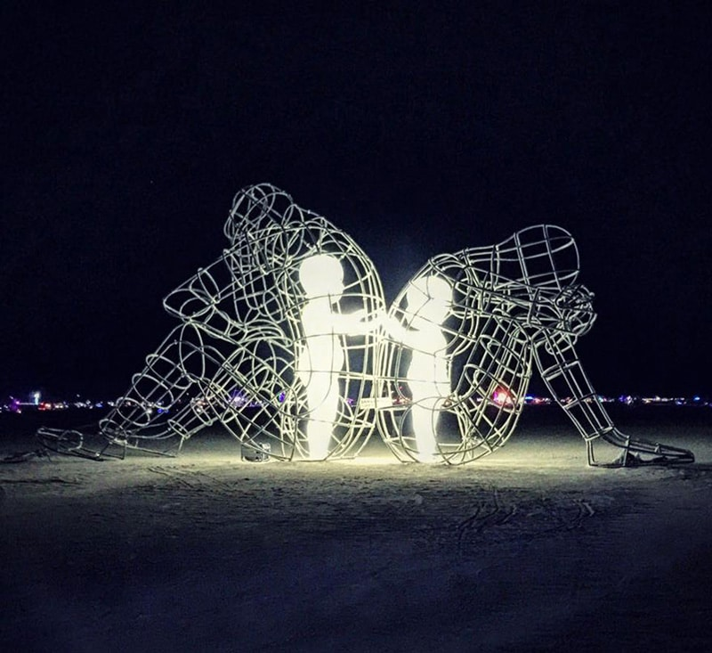 "Burning Man Sculpture ""Love"" - Inner Child Trapped in Us, by Alexandr Milov (Night, Glowing)"