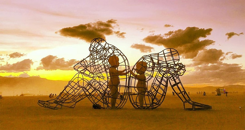 "Burning Man Sculpture ""Love"" - Inner Child Trapped in Us, by Alexandr Milov (Day, Sunrise)"