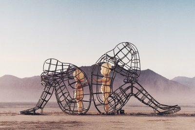 "Burning Man Sculpture ""Love"" - Inner Child Trapped Inside Us, by Alexandr Milov"