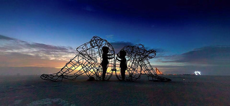 "Burning Man Sculpture ""Love"" - Inner Child Trapped in Us, by Alexandr Milov (Sunset)"