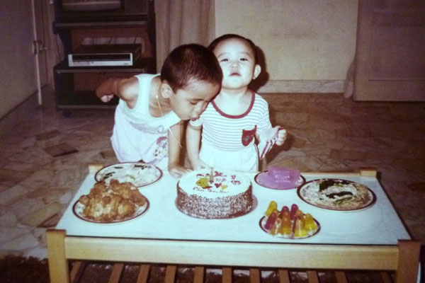 1987: Birthday celebration with my brother