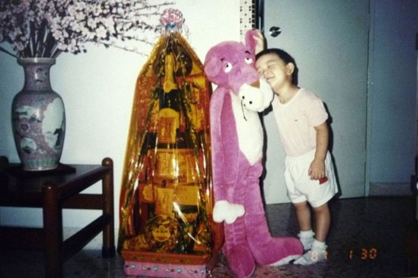 1987: Hugging my pink panther toy