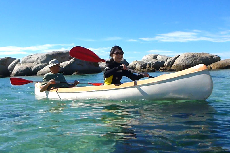 Celes canoeing at Cape Town, South Africa