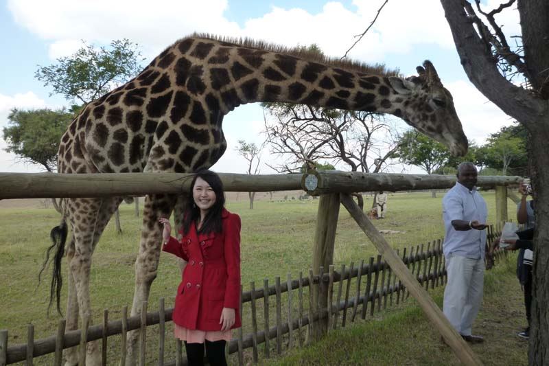 Celes with a Giraffe in Johannesburg, South Africa