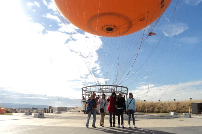 Celes going for a hot air balloon ride in Orange Country, California