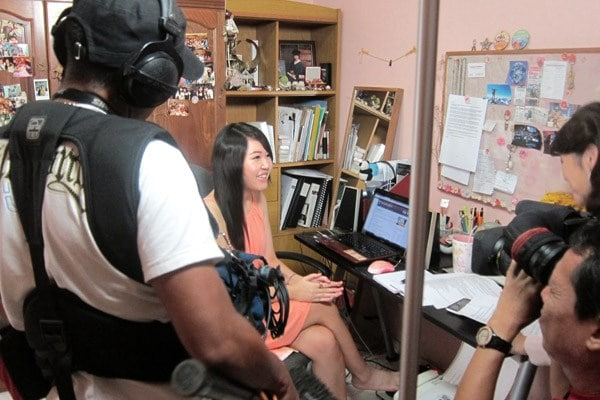 At my home with the Channel News Asia crew
