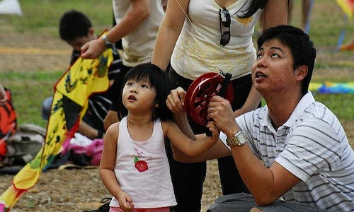 Father and Daughter, Kite Flying