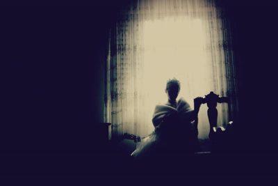 Girl alone in the dark