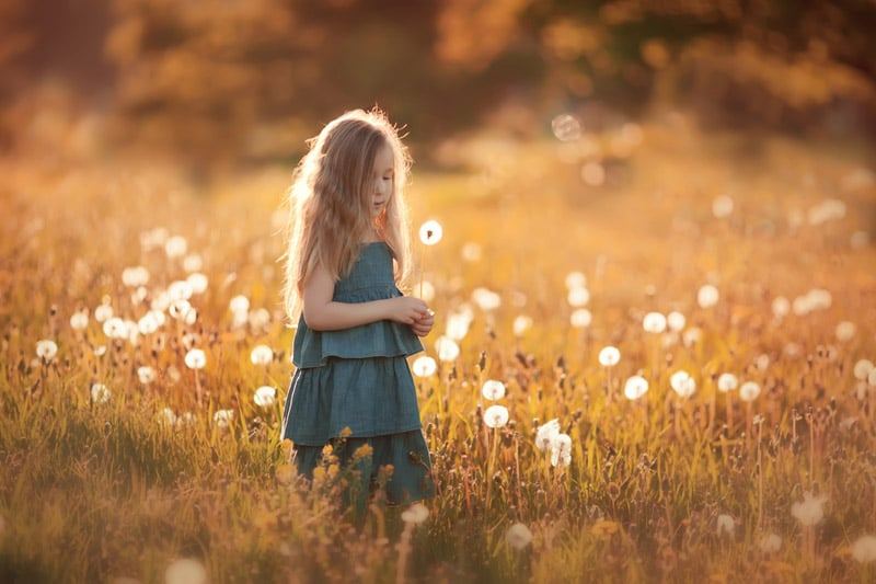 Girl alone in field