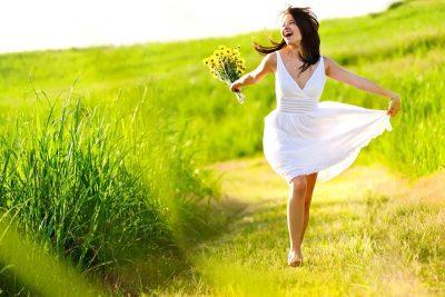 Happy girl in the field