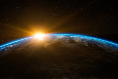 Globe: Viewing sunrise from outerspace