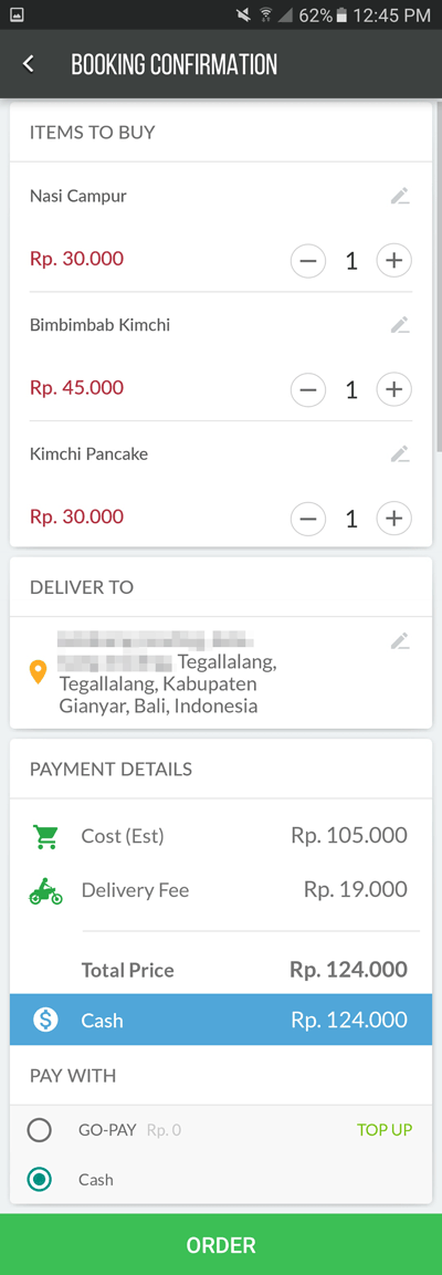 Go-Jek: GO-FOOD booking confirmation