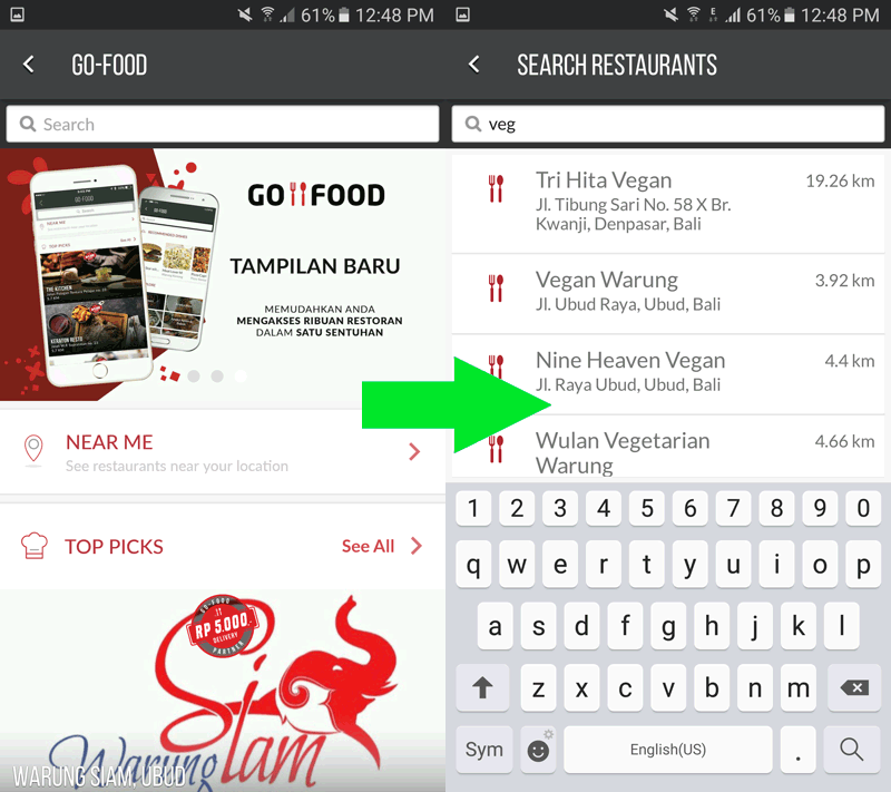 Go-Jek: GO-FOOD restaurant selection