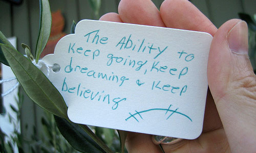 """The ability to keep going, keep dreaming, and keep believing"""