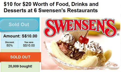 Sample GroupOn Deal - Swensen's Restaurant