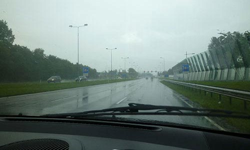 Rain in the morning, when setting off to Amsterdam