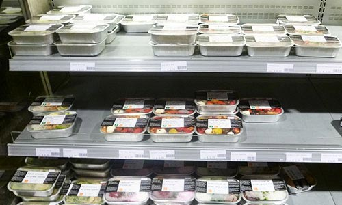 Prepacked meals in a supermarket in Amsterdam