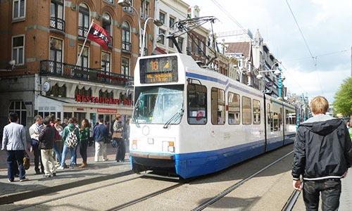 Tram in Amsterdam Central