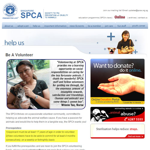Volunteer page at SPCA