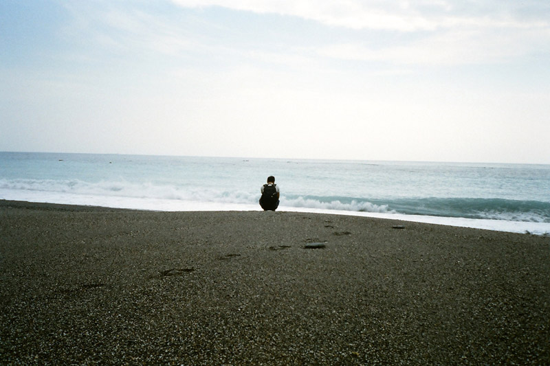 Man alone at the beach