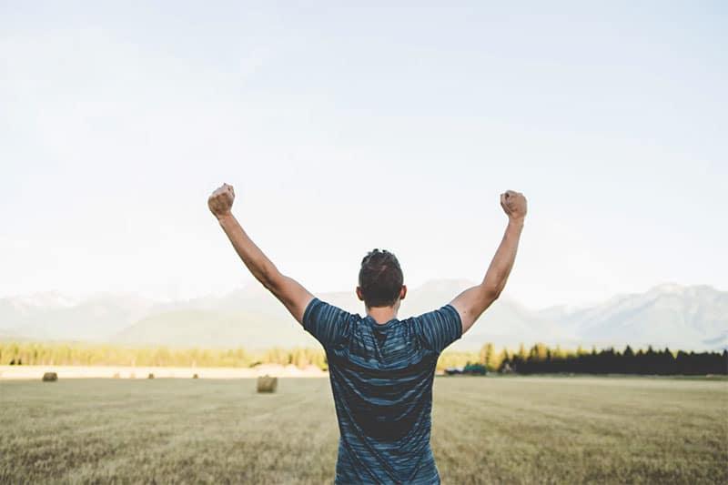 Man having victory