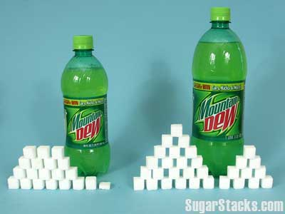 Sugar in Mountain Dew, in sugar cube form