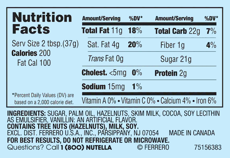 Nutella Nutritional Facts and Nutrition Label