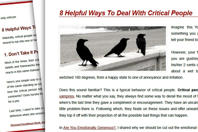 PEBook: 8 Helpful Ways to Deal with Critical People