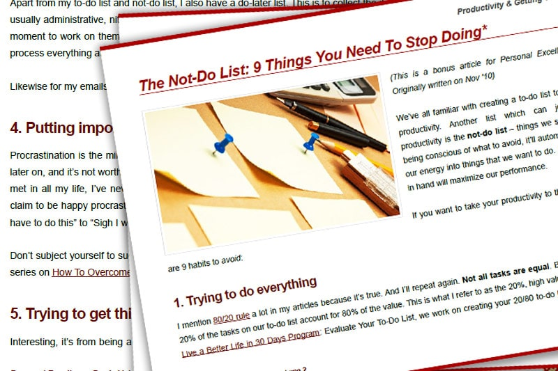 PEBook: The Not-Do List