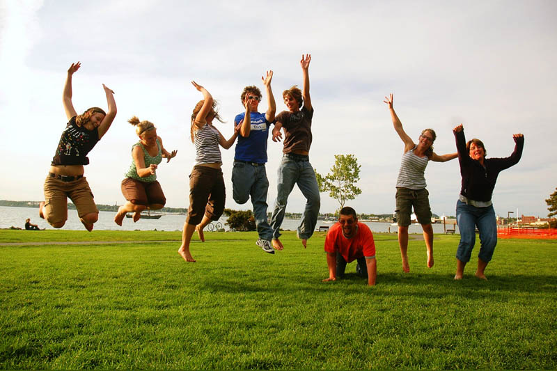 People jumping on a field