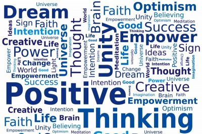 Collage of positive words: Positive thinking, Dream, Unity, Empower
