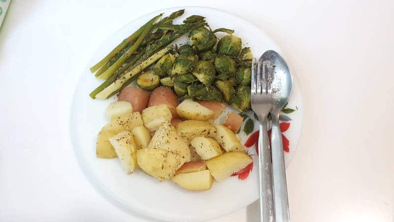 Vegan Meal: Potato, Brussel Sprouts, Asparagus