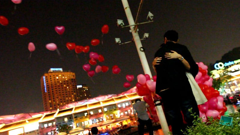 Watching the balloons fly away as we hugged