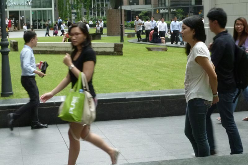 Celes facing the lunch crowd in Raffles Place