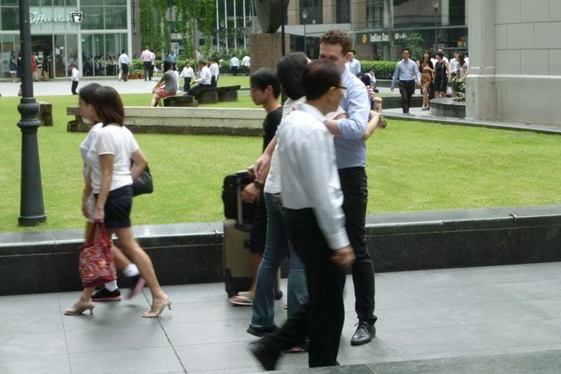 Celes hugging a Caucasian guy