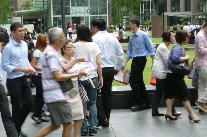Lunch crowd at Raffles Place