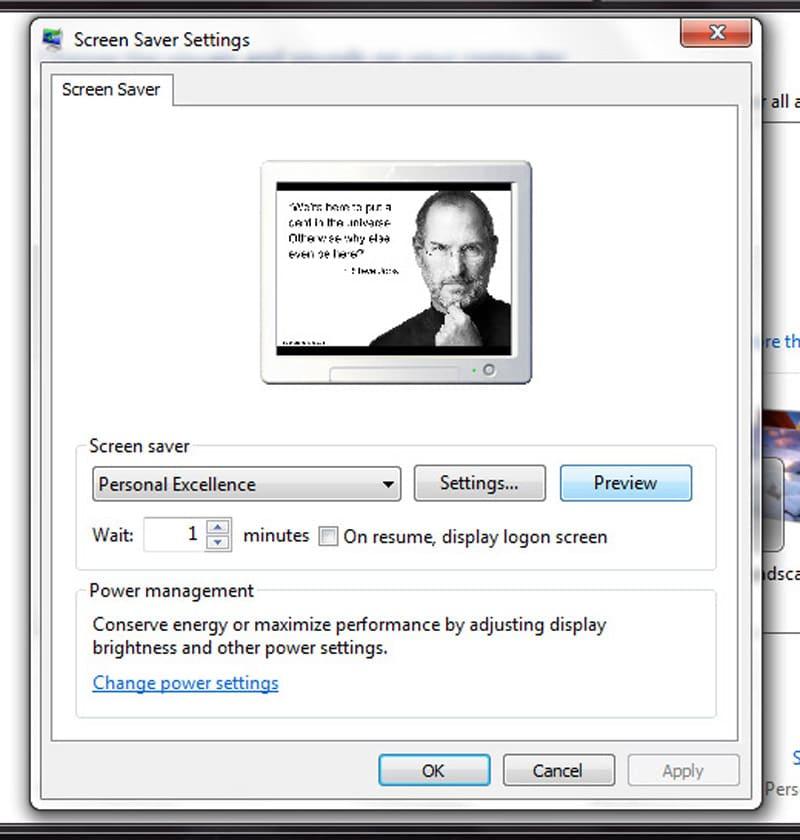 Change settings for screensaver