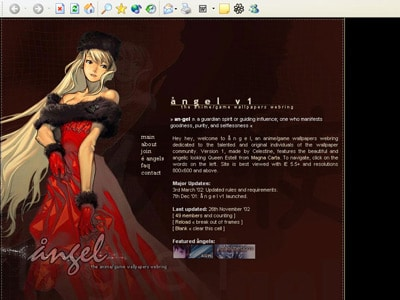 Screenshot of angel, my webring for wallpaper sites