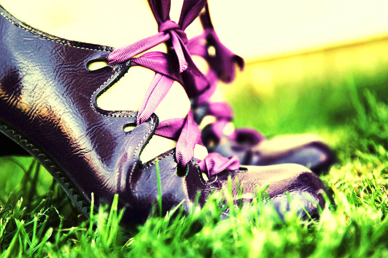Shoes with purple lace