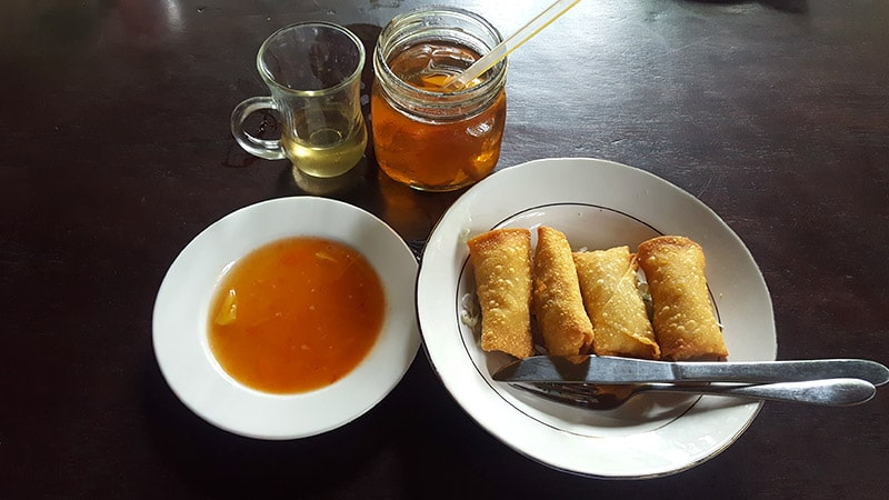 Ubud: Siboghana Waroeng, Fried Vegetable Spring Roll and Iced Ginger Tea