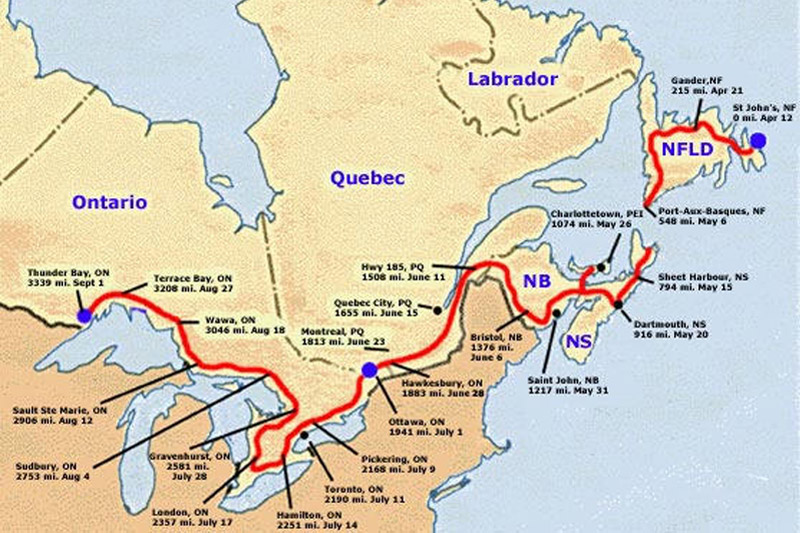 Terry Fox Marathon of Hope: Map