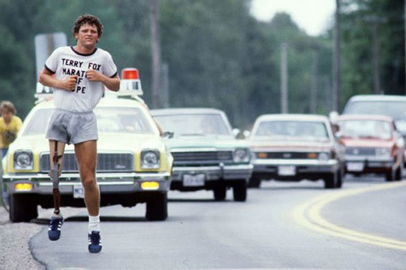 Terry Fox, running the Marathon of Hope